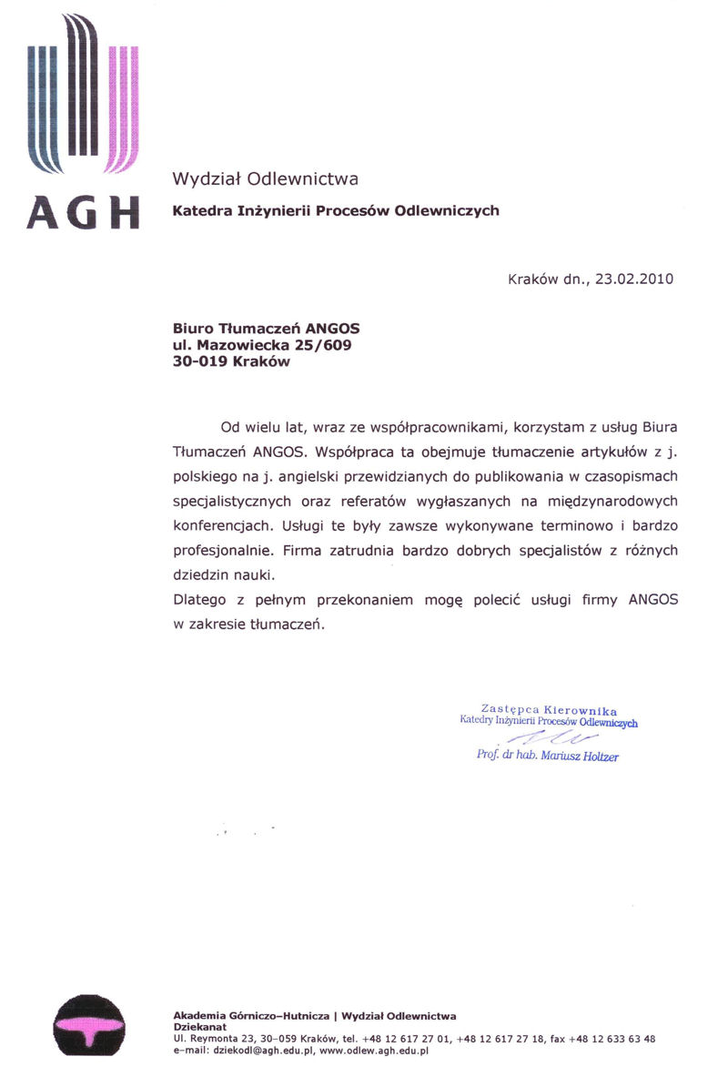 agh references ANGOS Translation Agency